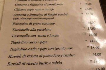 menu primi ristorante da paolino pescocostanzo