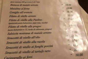 menu secondi ristorante da paolino